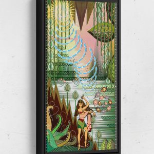 Bolly Creates Sound in the Jungle Long Vertical Matte Framed Canvas Wall Art