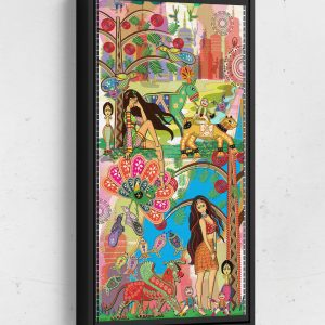 Introducing Bolly and Sheena Long Vertical Matte Framed Canvas Wall Art