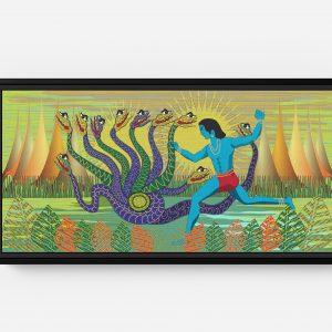 Krishna Fighting Serpent Long Horizontal Matte Framed Canvas Wall Art