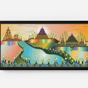 Three Castles Long Horizontal Matte Framed Canvas Wall Art