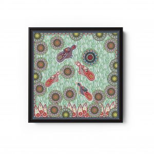 Birds With Circles Green Square Canvas Wall Art
