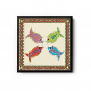 Fish With Brown Frame Square Canvas Wall Art