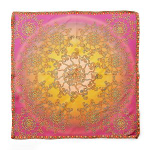 One Circle on Pink Square Scarf
