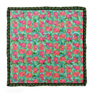 Pink Elephant on Leaves Square Scarf