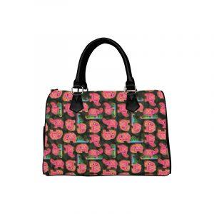 Pink Elephants on Black Leaves Handbag