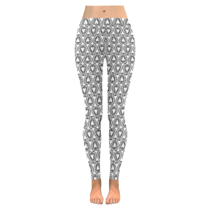 Hearts Black and White Low Rise Leggings