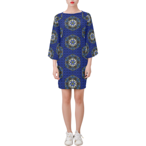 Blue Geo Border Space Fish Bell Sleeve Dress