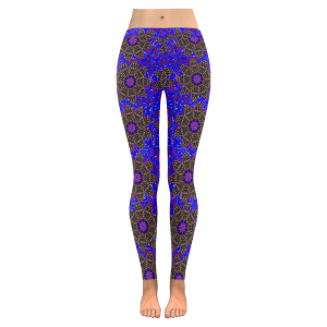 Black Flower on Purple from Paisley All-Over Low Rise Leggings