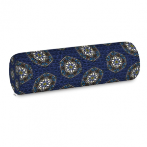Blue Geo Border Bolster Cushion