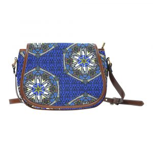 Blue Geo Border Space Fish Saddle Bag