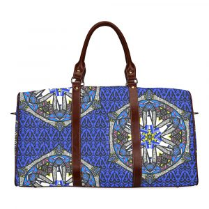Blue Geo Border Space Fish Travel Bag