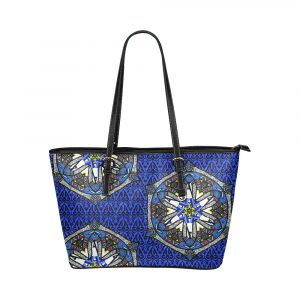Blue Geo Border Space Fish Leather Tote Bag