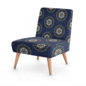 Blue Geo Border Space Fish Occasional Chair