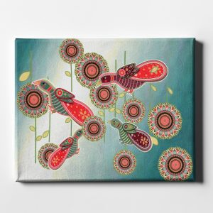 BollyDoll Birds with Circles Stretched Canvas Wall Art