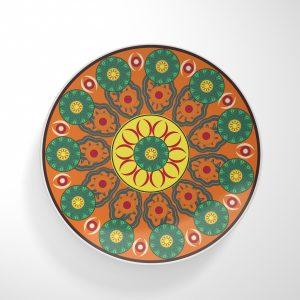 Flower Wheels Orange Base Dinnerware Plate