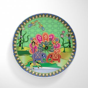 Peacock and Two Elephants Dinnerware Plate