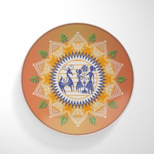 People on Orange Dinnerware Plate