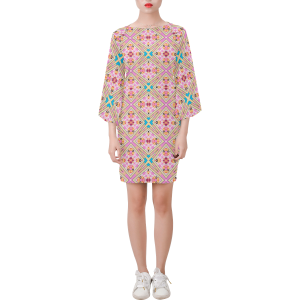 Lotus Flower Geo Pink and Teal Bell Sleeve Dress
