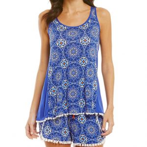Hypnotizing Hues Medallion Blue Lounge Top