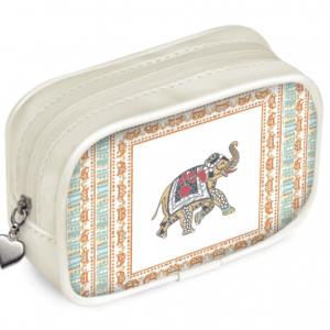 Elephant on Ivory Beige Pouch Purse