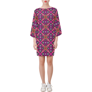 Lotus Flower Geo Purple Bell Sleeve Dress