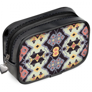 Flower Opal Cross on Black Pouch Purse