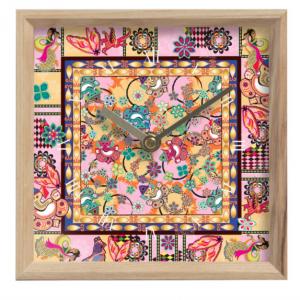 Ganesh Print Pink and Blue Mantle Clock