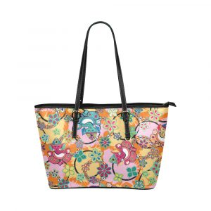 Ganesh Print Blue and Pink Leather Tote Bag