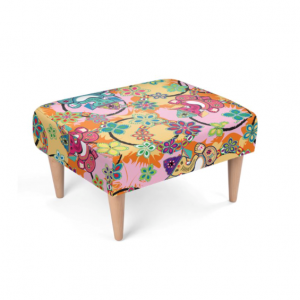 Ganesh With Lotus Pink and Blue Footstool