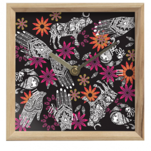 Hand and Animal Collage on Black Mantle Clock