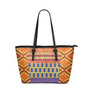 Indian Bubble Orange Squares Leather Tote Bag