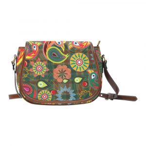 Orange Peacock Saddle Bag