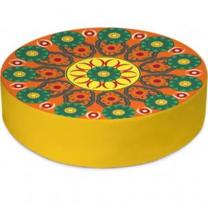 Flower Wheels Round Floor Cushion
