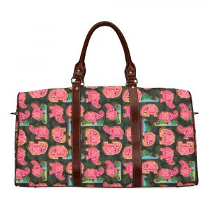 Pink Elephant on Black Leaves Travel Bag