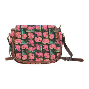 Pink Elephant on Black Leaves Saddle Bag