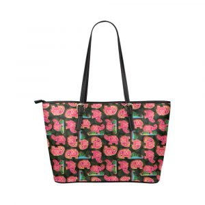 Pink Elephant on Black Leaves Leather Tote Bag