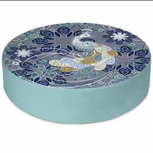 Summer Angel Peacock Indigo Round Floor Cushion