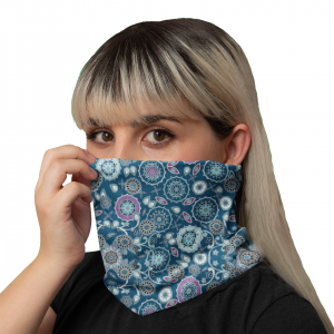 Emerald Snowflakes Blue Neck Gaiter