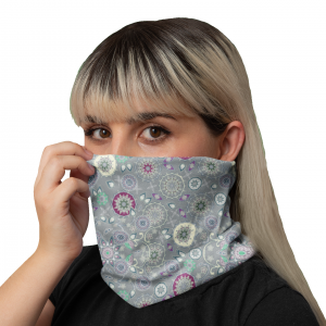 Emerald Snowflakes Grey Neck Gaiter