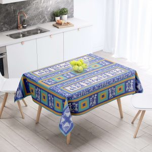 Blue and Gold Table Cloth