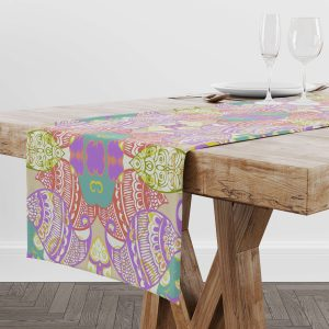 Purple Pastel Wire Henna With Border Table Runner