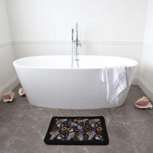 Hand and Animal Collage on Black Bath Mat